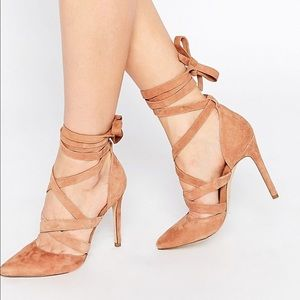 Taupe wrap heels